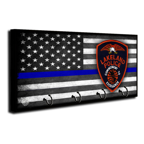 Thin Blue Line Flag Lakeland Police Department Patch Dog Leash and Key Hanger