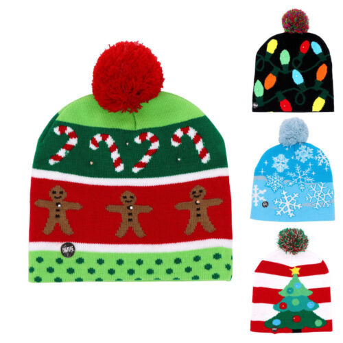 ad22387c11532 Lotsa Lites LED Flashing Holiday Xmas Knitted Hat Light up Blinking Beanie