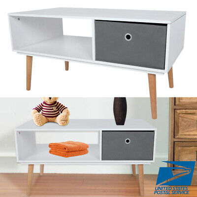 Modern Coffee Living Room Table Desk Side End Table w/ 1 Fabrics Storage -
