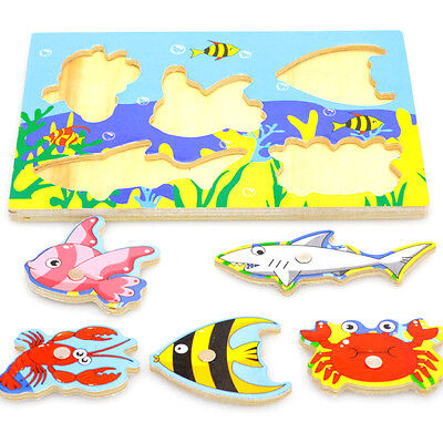 Baby Kids Magnetic Fishing Game + 3D Jigsaw Puzzle Board Wooden Development Toy