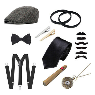 Men's 1920s Accessories Gatsby Gangster Costume Set Beret Hat Suspender Armbands - 1920s Mobster Costume