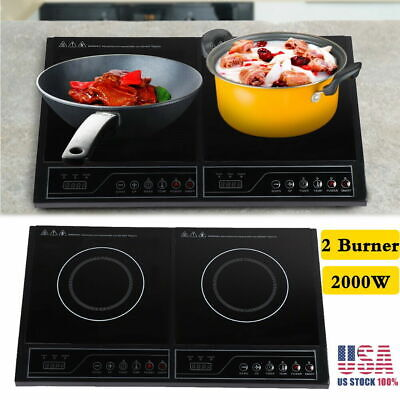 Multifunction 2000W Induction Cooker Electric Countertop Double Burner Cooktop