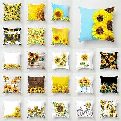 "18"" Fashion Sunflower Linen Polyester Throw Pillow Case Cush"