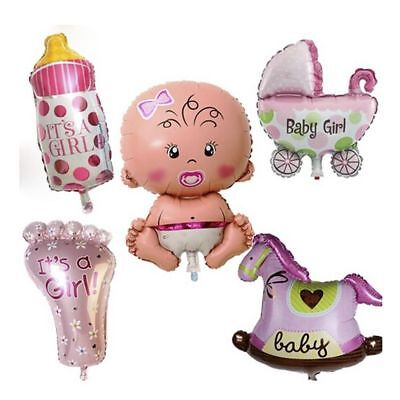 5 Pc Set GIRL Foil Balloons for Baby Shower Christening Birthday Party Decor](Decoration For Birthdays)