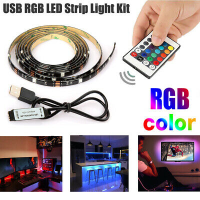 5V USB LED Strip Lights TV Back Light 5050 RGB Colour Changing with 24Key -