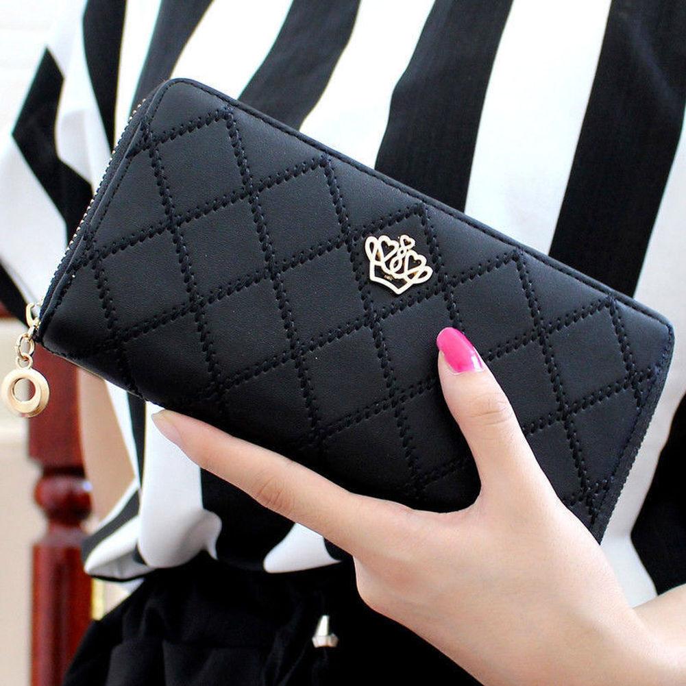 Women's Leather Organizer Wallets Zipper Clutch Purse Cards Holder Handbag US Clothing, Shoes & Accessories