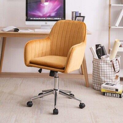 Velvet Office Chair Line Stripes Upholstered Swivel Computer Desk Chairs Yellow