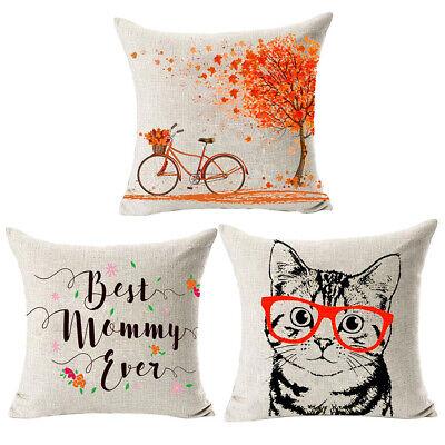 Cat Bike Letter Linen Throw Pillow Case Cushion Cover Sofa Bed Home Decor (Bike Throw Pillow)