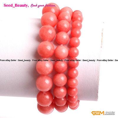 Coral Beads Jewelry Bracelet - Coral-Pink Jade Beads Energy Healing Jewelry Beaded Bracelet 7.5