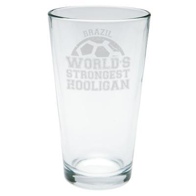 World Cup World's Strongest Hooligan Brazil Etched Pint (Strongest Glasses)