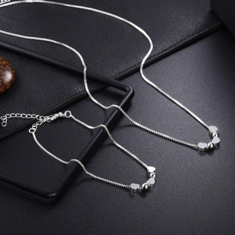 925 silver Fashion wedding Women charms chain necklace Bracelet set jewelry LS10
