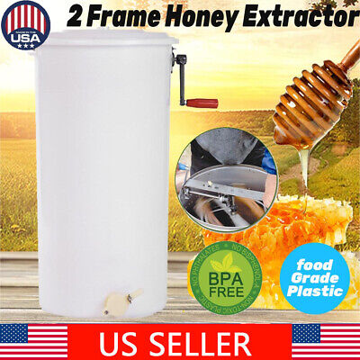 Us Manual Large 2 Frame Plastic Honey Extractor Beekeeping Equipment New
