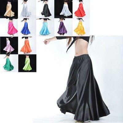 AU NEW Hot 360 Full Circle Satin Long Skirt Swing Belly Dance Costumes Tribal (Tribal Costumes)