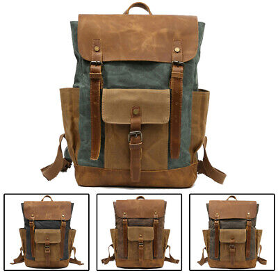 Real Leather Waxed Canvas Backpack For Men Travel Rucksack Daypack School Bag