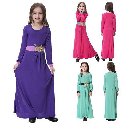 Girls Long Sleeve Muslim Maxi Dress for Kid Abaya Islamic Dubai Kaftan Robe Gown - Pageant Robes