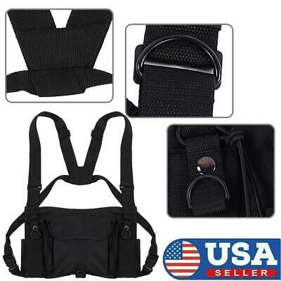Universal Hands Free Walkie Talkie Radio Holder Vest Chest Harness Holster Vest.