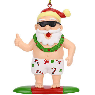 Tree Buddees Surfing Santa Christmas Surfer Ornament Claus Xmas Funny Summer Fun ()