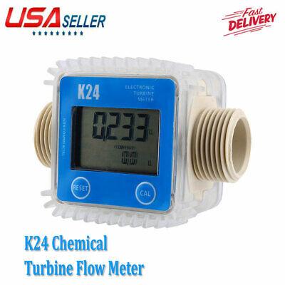 New K24 Lcd Turbine Digital Diesel Fuel Flow Meter For Chemicals Water Blue