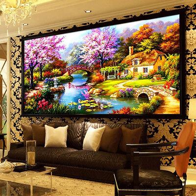 Scenic Plant Flower House Landscape 5D Diamond Painting DIY Wall Decor Craft US