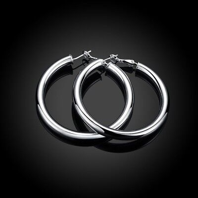 (# SHIP FROM USA # 925 Sterling Silver Medium-Size 5mm Flat Hoop Earrings ZG2)