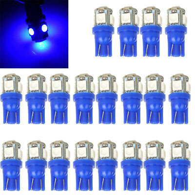 5 Pack Blue Led - 20 -Pack T10 Wedge 5-SMD Blue 5050 Led light Bulbs Lamp w5w 2825 158 192 168 194