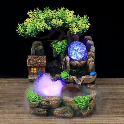 Desktop Fountain Rockery Planter Table Decor Landscape Waterfall w/ LED Light US