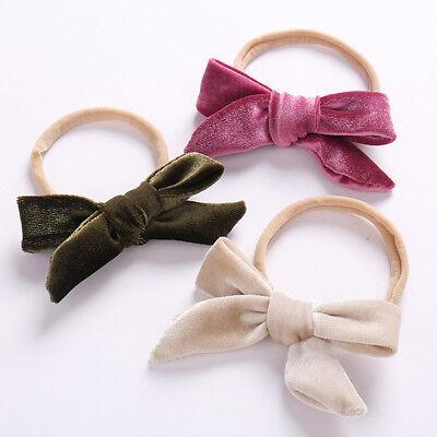 Lovely Velvet Headbands for Baby Girl Cute Bows Nylon Elastic Headband For Kids#