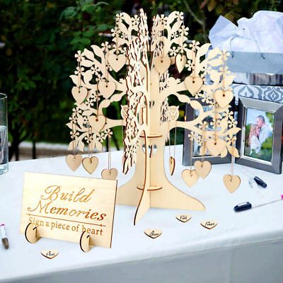Wedding Guest Book Tree Wooden Hearts Pendant Drop Ornaments Party Decoration](Guest Books)