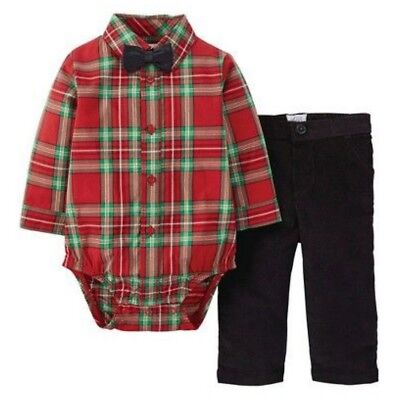Carters Infant Boys Red Plaid Holiday Outfit With Black Bow Tie ()