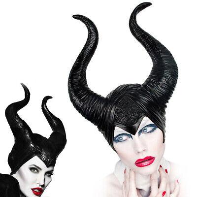 Frauen Maleficent Hörner Halloween Party Hexe Cosplay Schwarz Kopfbedeckung Hut
