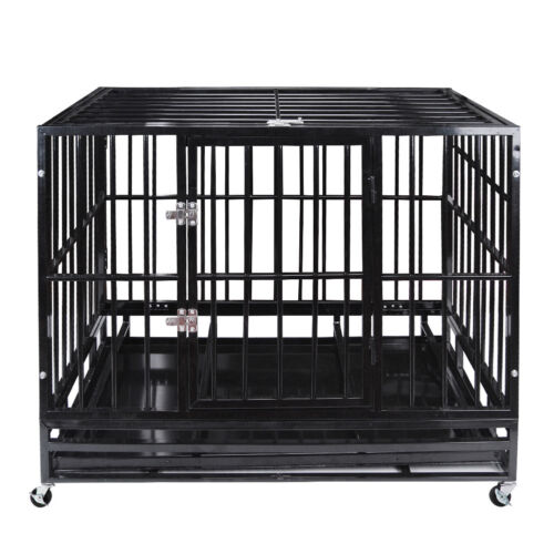 """47"""" Heavy Duty Pet Dog Cage Strong Metal Crate Kennel Playpen w/ Wheels&Tray"""