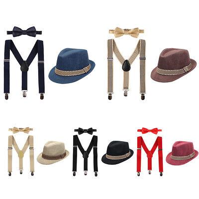 Jungen Hosenträger mit Hut und Krawatte Gentlemen Outfit für Geburtstag Hochzeit (Hut Träger)