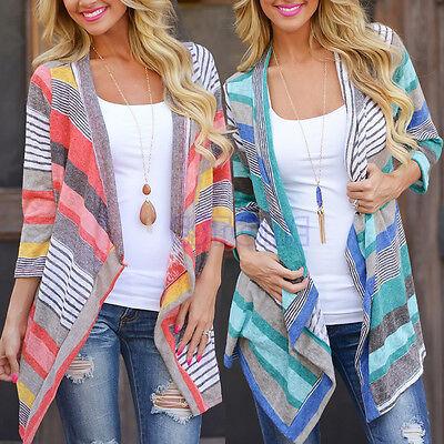 Boho Womens Knitted Cardigan Loose Sweater Outwear Long Sleeve Jacket Coat Tops