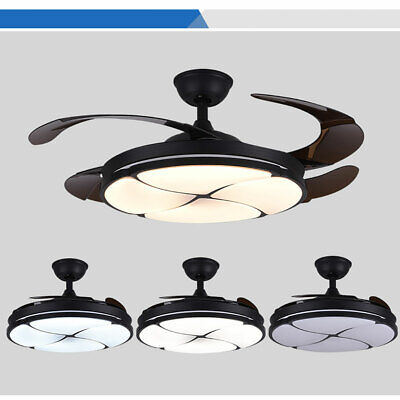Ceiling Chandelier with Fan 42 Inch 4 Retractable Blades + Remote Control