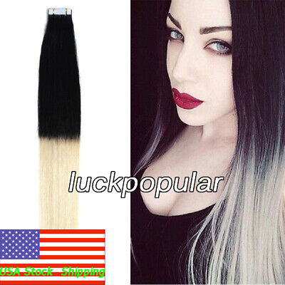 Used, Seamless Tape in Indian Remy Human Hair Extensions Ombre Black to Blonde 20inch for sale  Rowland Heights