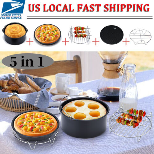 5 in 1 7 Air Fryer Accessories Healthy Airfryer Chips Baking Set Cake Pizza Pan