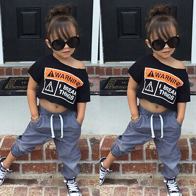 Fashion Kid Toddler Baby Girl Boat Neck Crop Top T-shirt Leggings Outfit -
