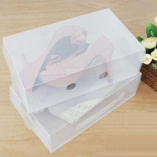portable transparent clear plastic shoe storage box foldable stackable boxes us ebay. Black Bedroom Furniture Sets. Home Design Ideas