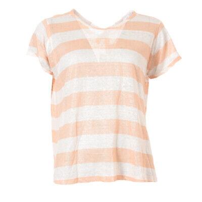 iBLUES MAX MARA Top White & Peach Stripe Linen RRP £89 BG