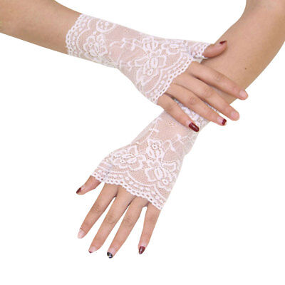 Spitzenhandschuhe Manschette schwarz Weiß Gothic Lolita Spitzen-Handschuhe mode (Weiße Spitzen Handschuhe)
