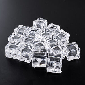 Clear 16pcs Fake Artificial Acrylic Ice Cubes Crystal Barwar Home Display Decor