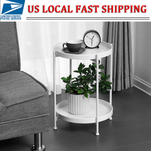 2 Layer Round Side Table End Table Iron Coffee Tea Table Liv