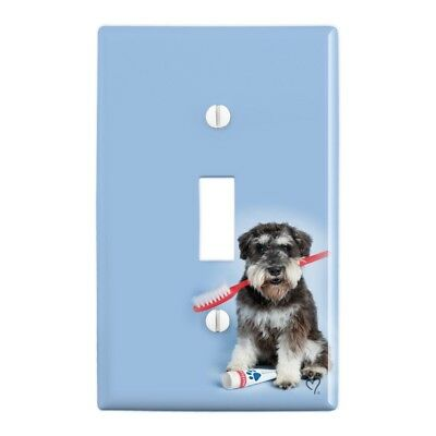 Schnauzer Puppy Dog with Toothbrush Dentist Wall Light Switch Plate Cover