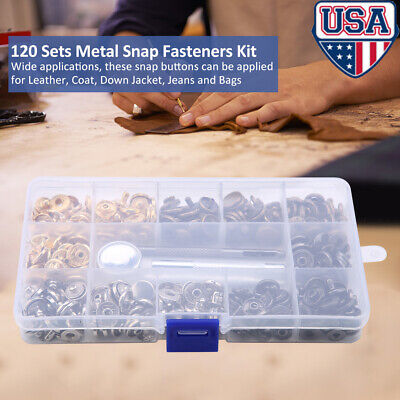 120 Sets Snap Fastener Kit Button Tool, Leather Buttons Press Studs With 4 -