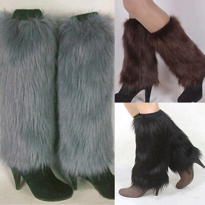 Winter Fashion Women Boot Covers Furry Solid Color Faux Fur Soft Leg Warmers GIL](Faux Fur Boot Covers)