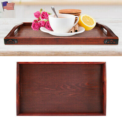 Multi-purpose Wooden Serving Tray Plate for Tea Set Fruits F