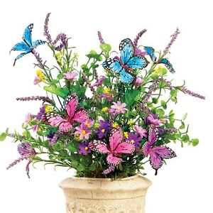 Butterfly Artificial Flower Arrangement Bouquet Bush - Set of 3