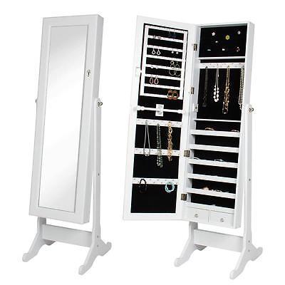 Lockable Mirrored Jewelry Cabinet Mirror Organizer Armoire Storage W/Stand White