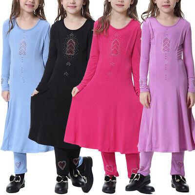 Kids Girls Muslim Long Sleeve Midi Dress Pants Set Dubai Islamic Malaysia Abaya