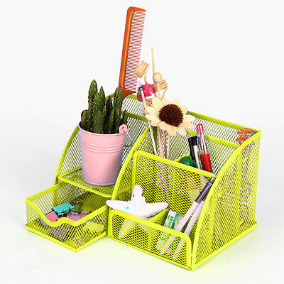 Dazone Mesh Metal Desk Organizers Pen Pencil Holder Storage Tray With Drawer